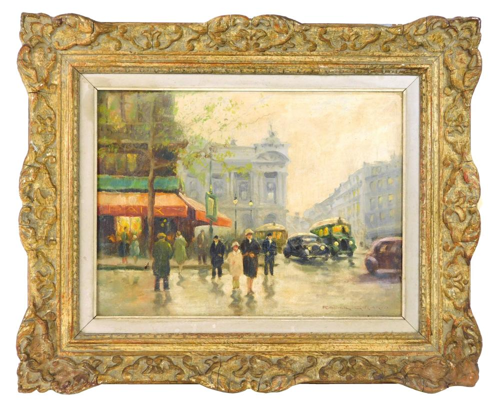 Raoul Girard (Bolivia/France, 20th C.), oil on canvas, figures and vehicles on Parisian street during rainy day, signed lower right,...