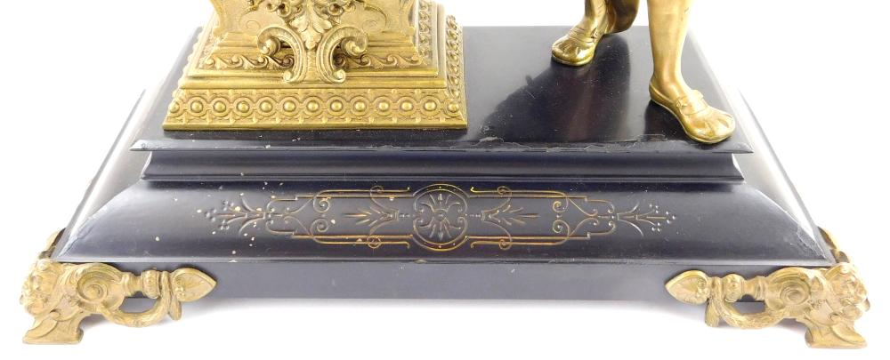 """Victorian Ansonia """"Cortez"""" figural mantel clock, late 19th C., enamel face, standing courtier with sword, clock with open escapement..."""