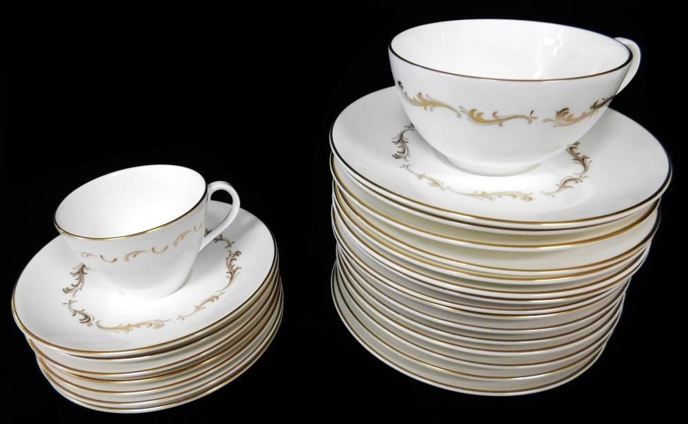 "Royal Doulton ""French Provincial"" dinnerware, gilt scrolling decorations on white, approximately 103 pieces, including: twelve 10 3/..."