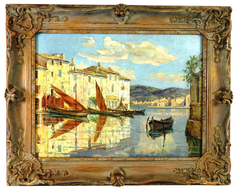 Oil on board Mediterranean scene, depicts buildings at water's edge with several boats in foreground, their reflections prominent in..