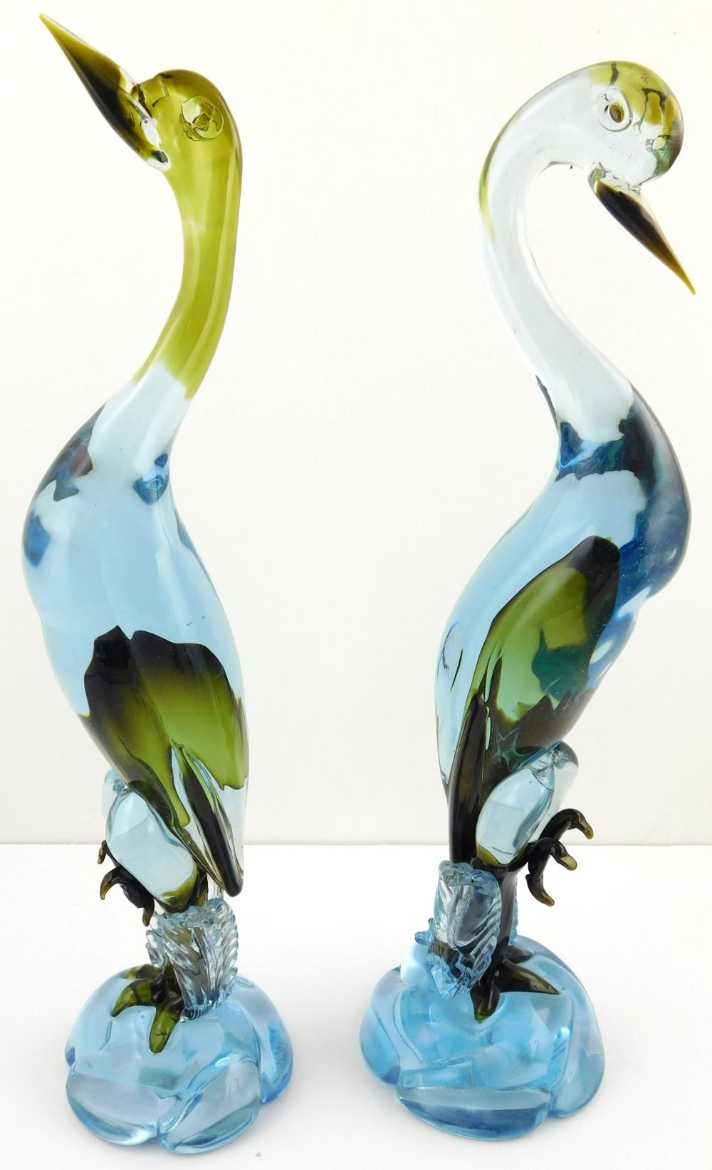 """GLASS: Glassware, Murano, 20th C., including a large pair of Cenedese birds, signed, 17 3/4"""" h.; fish vase on circular base; a roost..."""