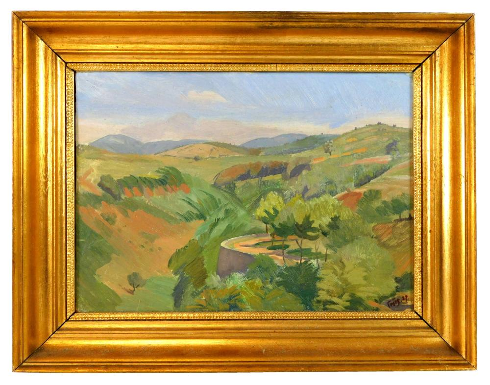Andreas Friis (Denmark, 1890-1983), double-sided oil on board, landscape with rolling hills, an outcrop appears in middle ground wit...