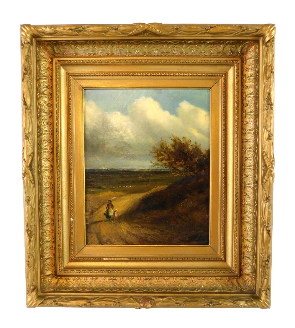 Continental landscape, oil on panel, woman and child walk hand-in-hand on dirt roadway away from fields, sea in distance, no signatu...