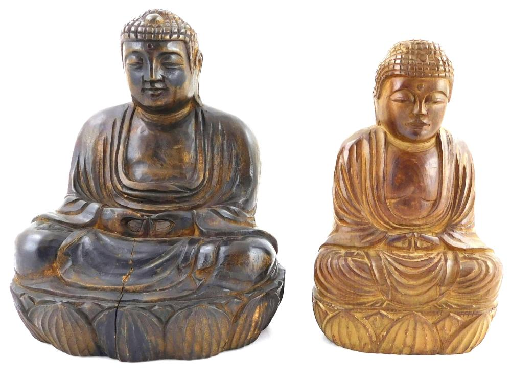 ASIAN: Japanese carving of Hotei, 19th/20th C., probably boxwood, signed, crack; along with two 20th C. carved figure of the Buddha,...