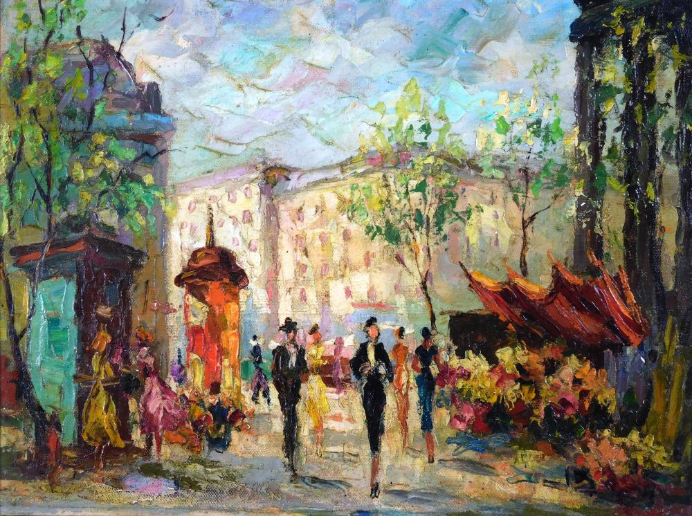 Unsigned oil on canvas, c. 1960's, European-style street scene with flower market stand and many colorful people throughout, paintin..