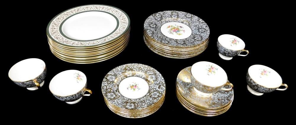 """Minton """"Brocade"""" and """"Aragon"""" bone china dinnerware, blue under gilt with white and colorful floral sprays: ten """"Aragon"""" 10 ¾"""" diam...."""