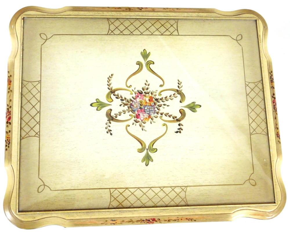 Nest of three French style tables, early 20th C., cream colored finish with hand-painted polychrome floral decoration to top and kne...