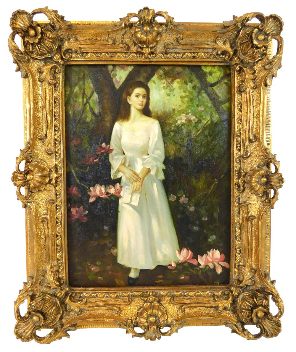 "Monogrammed ""JW"", oil on panel, woman in white dress holding book stands in a forest among pink magnolia blossoms, warm light appear..."