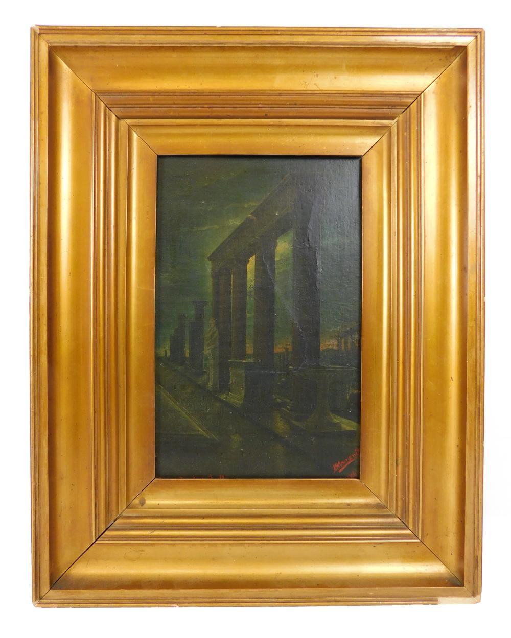 """Pompei - Tempio d'Apollo"", oil on relined canvas, nighttime scene of classical columns receding into distance, a few sculptures amo.."