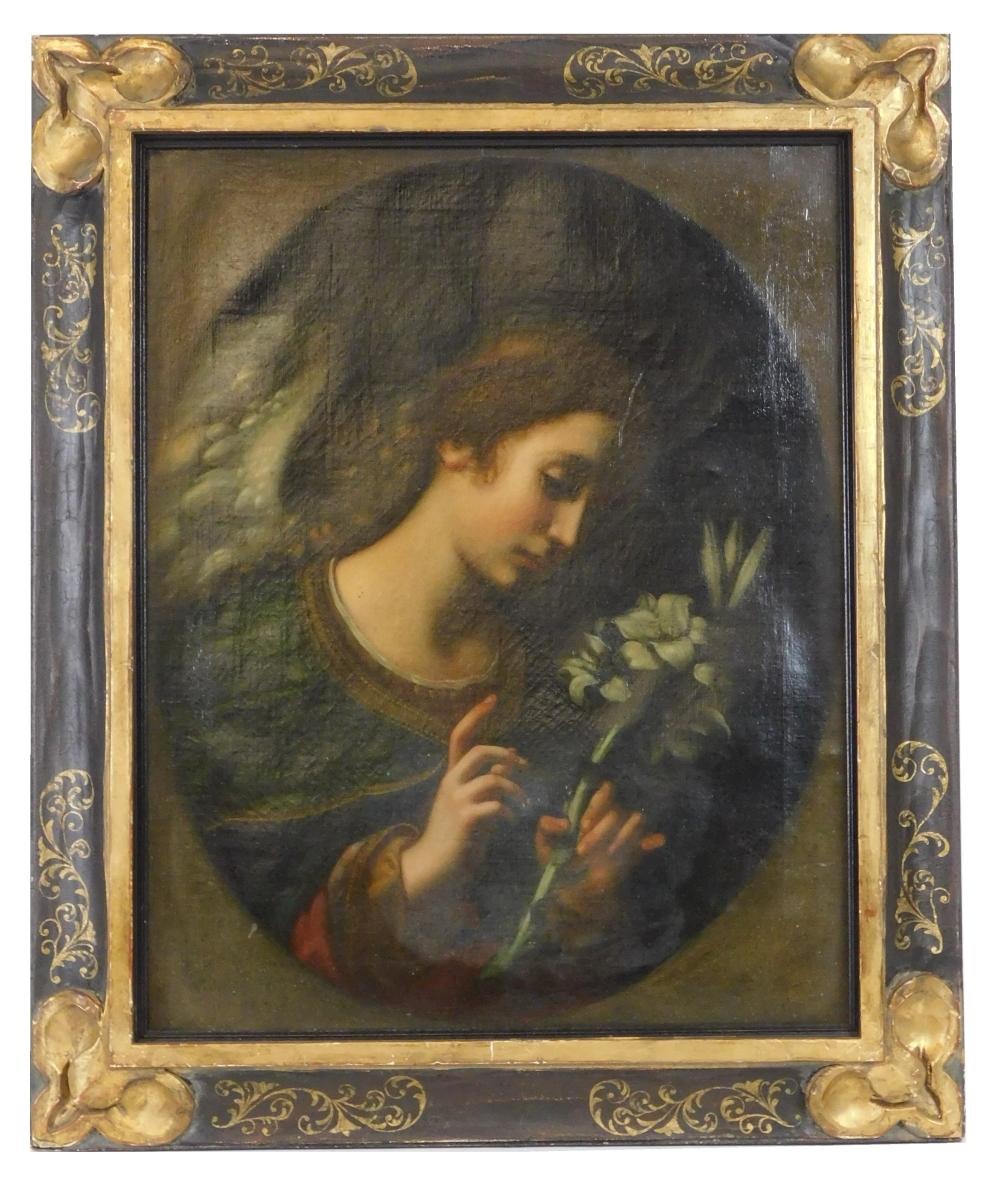 After Carlo Dolci, oil on canvas, angel with lilies against dark background, painted within oval composition, wear consistent with a...