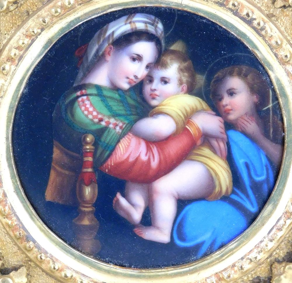 """Porcelain plaque, Continental, late 19th/early 20th C., hand painted after Raphael's Madonna della Sedia"""", inscribed """"E?R"""" verso, in.."""