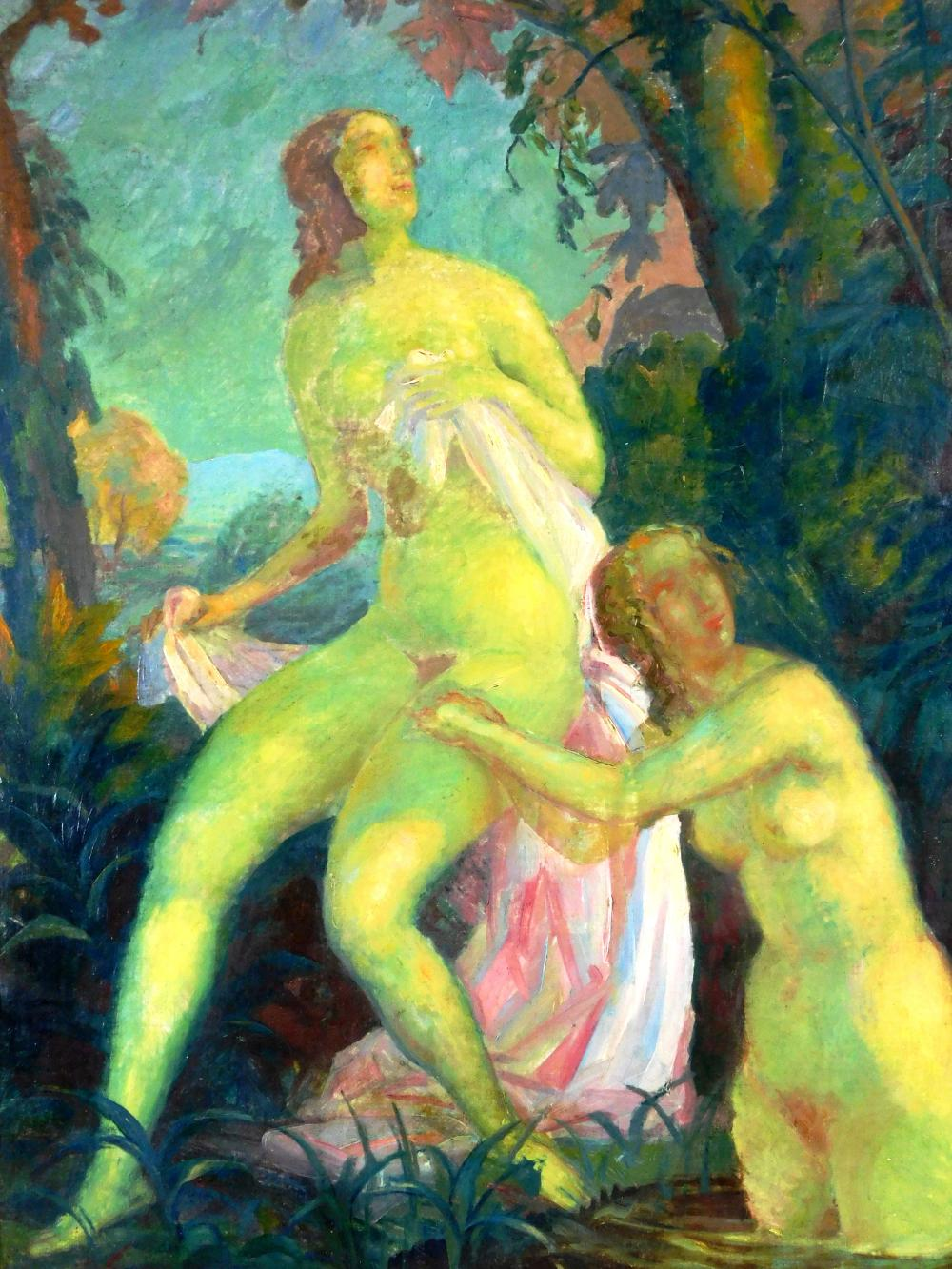 Richard Klein (German, 1890-1967), oil on canvas, two nude women with greenish tint to their skin tone, one seated wrapped in light...