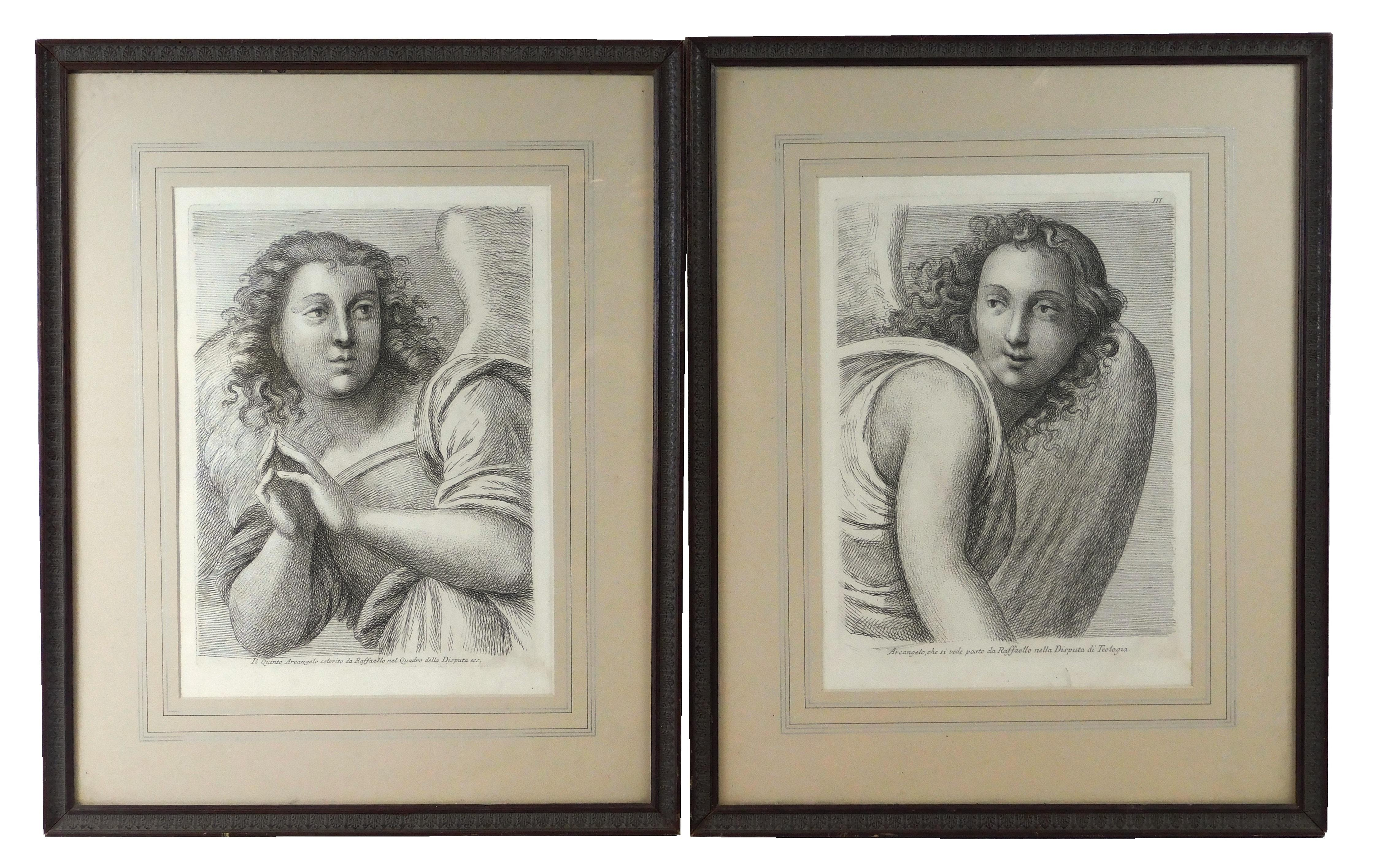Paulo Fidanza (Italy, 18th C.), two engravings of archangels, both are depicted from the waist up in a tight composition with wings...