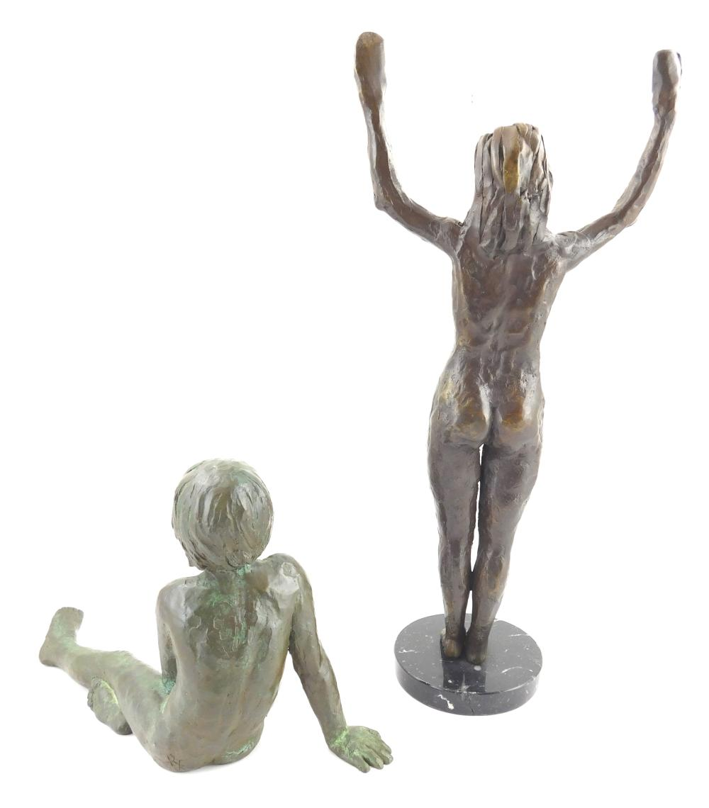"""Two bronze figures, each with markings, standing female with hands raised, on stone plinth, marked """"JL 45"""", stone is cracked, 16"""" h...."""