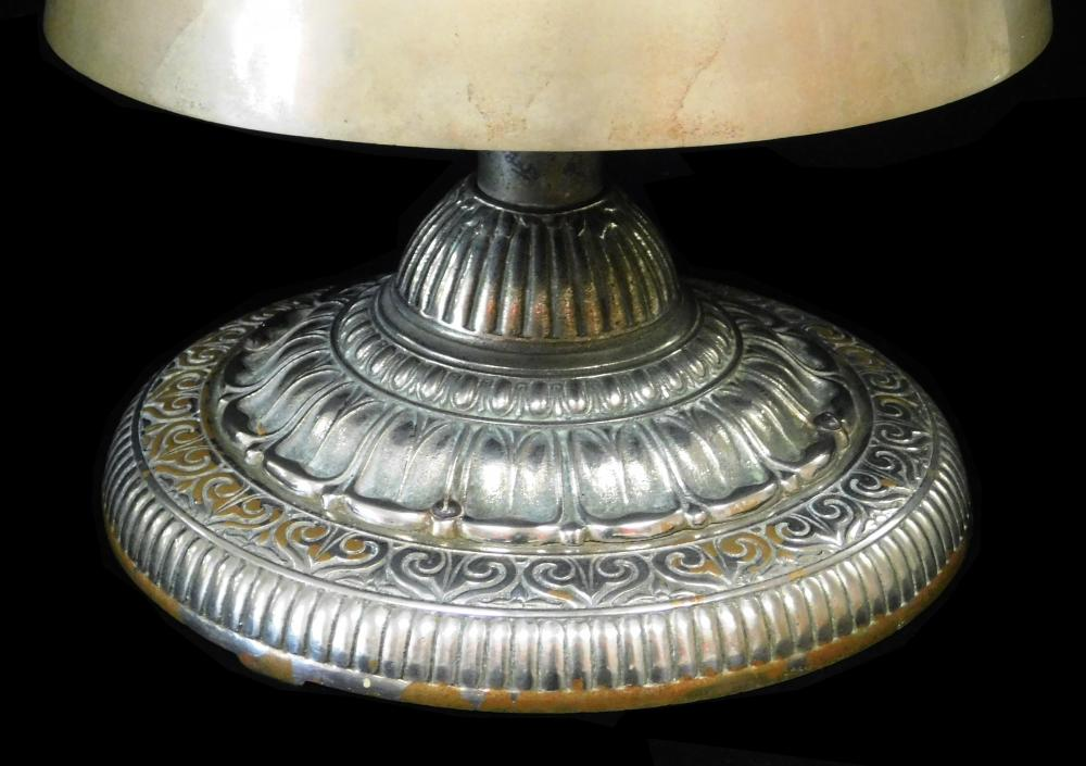 Religious three tier bell gong on pedestal base, 20th C., silverplate, pierced cross finial over three half dome stacked bells, on e...