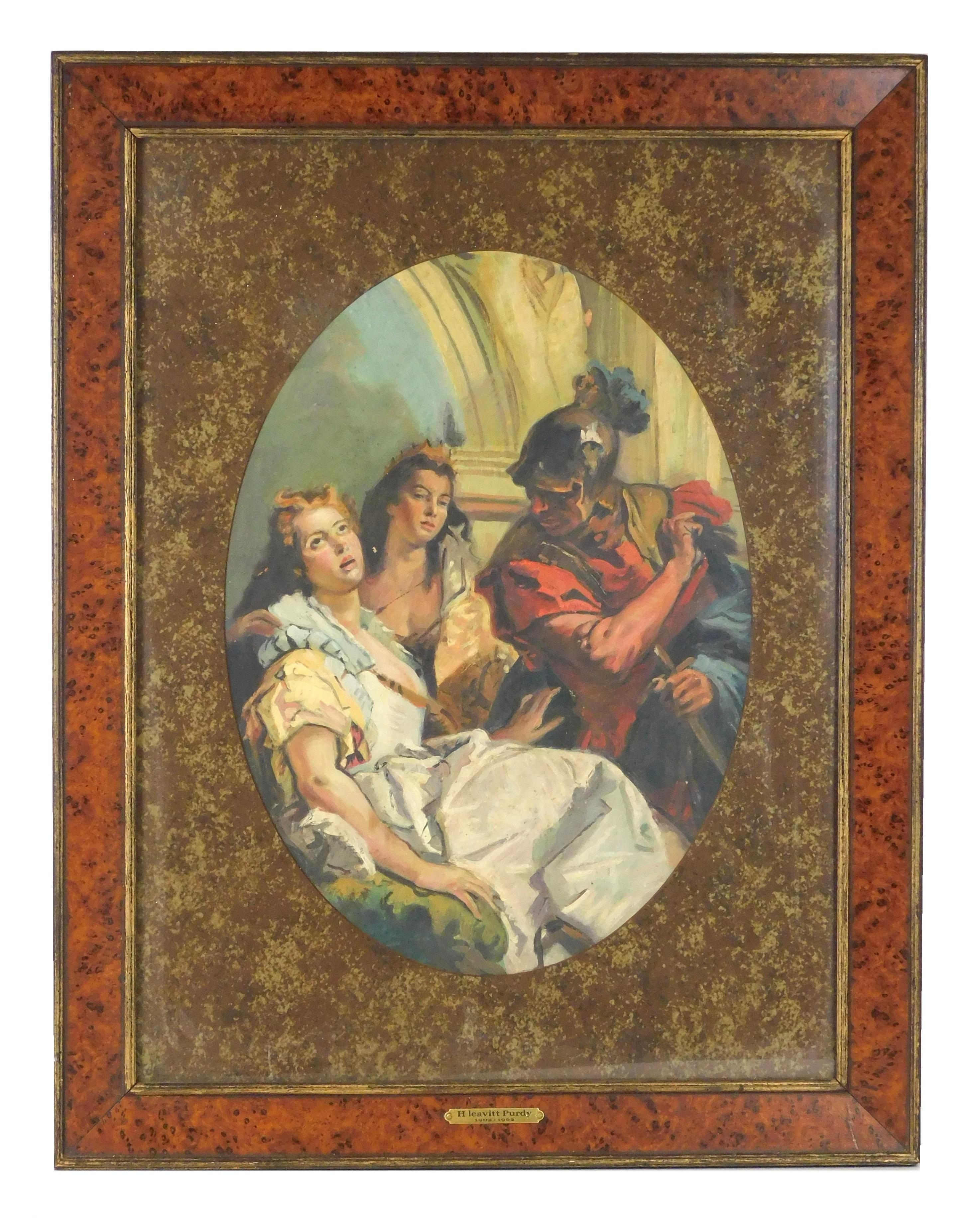 """Attributed to Levitt Purdy (American, 1902-1962), oil on board, after Tiepolo's """"Timocelia and the Thracian Commander"""", three classi.."""