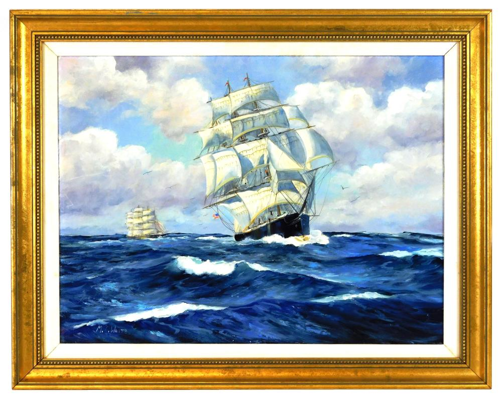 M.C. Waite (American, 20th C.), oil on canvas, depicts two Barque ships sailing across deep blue waters, sea birds surround, billowi...