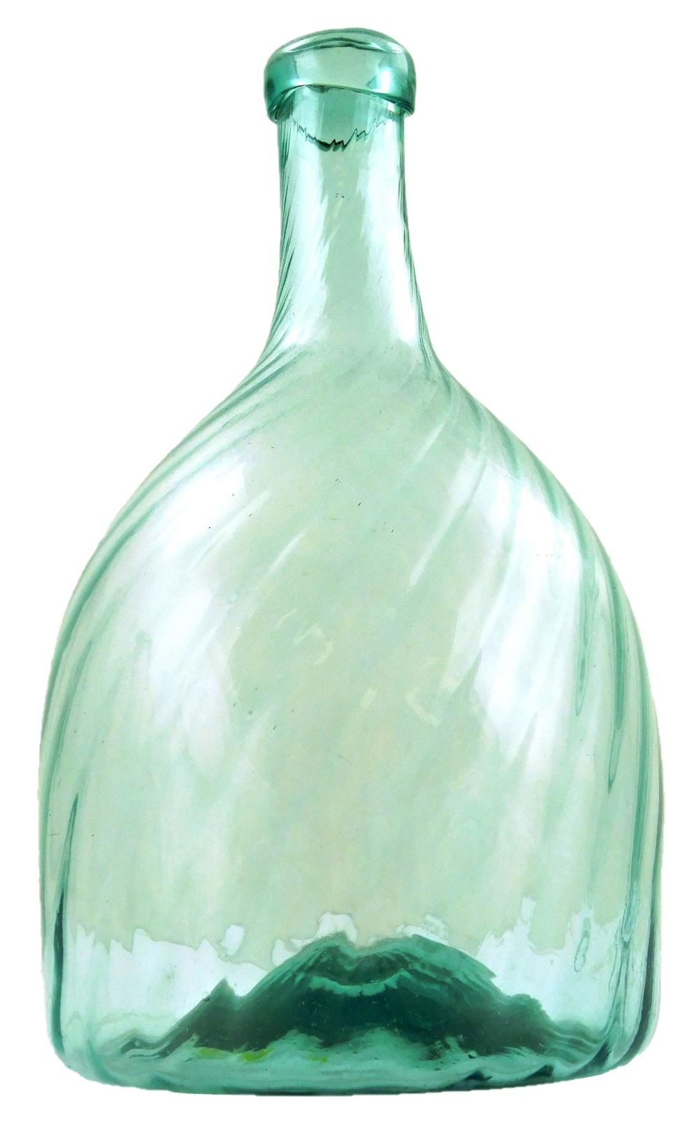 GLASS: Three pattern molded beehive/globular bottles, two with approx. 26 ribs in aqua color, both open pontil with applied lip, one...