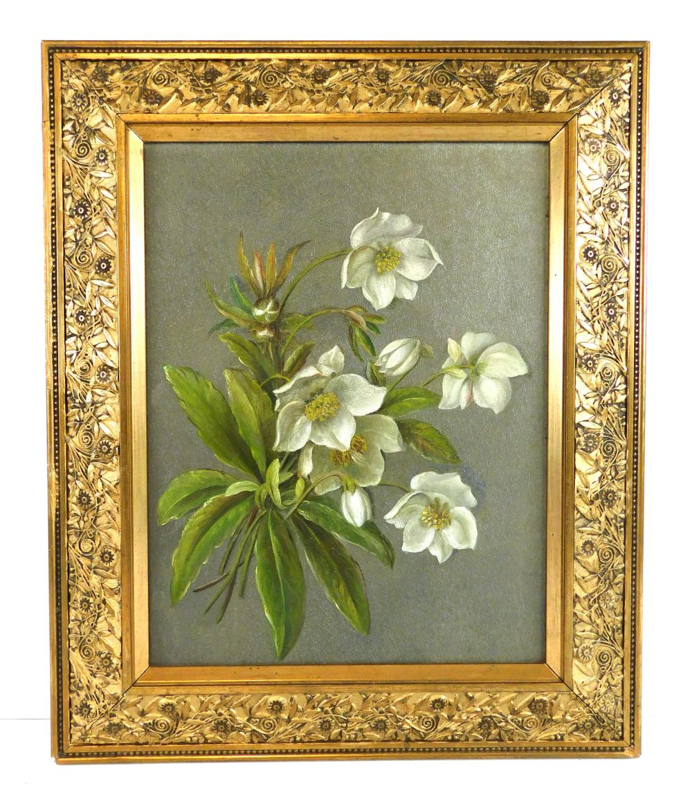 Floral still life, oil on canvas, American School style, late 19th C., a small bouquet of white flowers resembling hellebores in var...