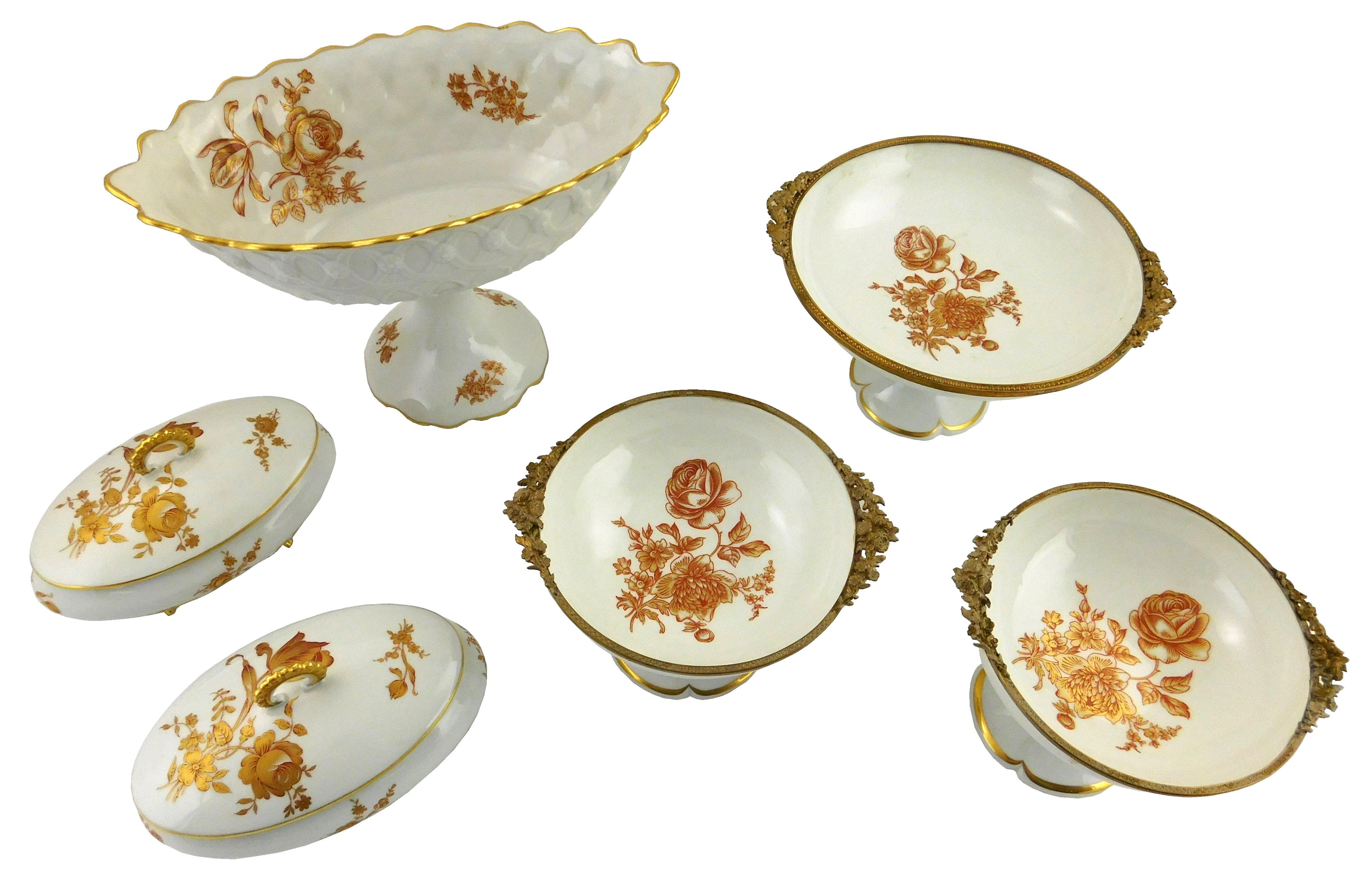 Limoges china serving ware and center pieces, iron red and gilt floral motifs, six pieces total: three graduated round compotes with...