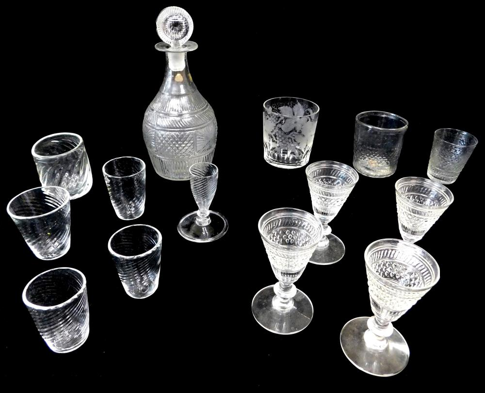 GLASS: Mold blown decanter, 19th C., with disc form stopper; along with an assortment of glassware including tumblers, shot and stem...