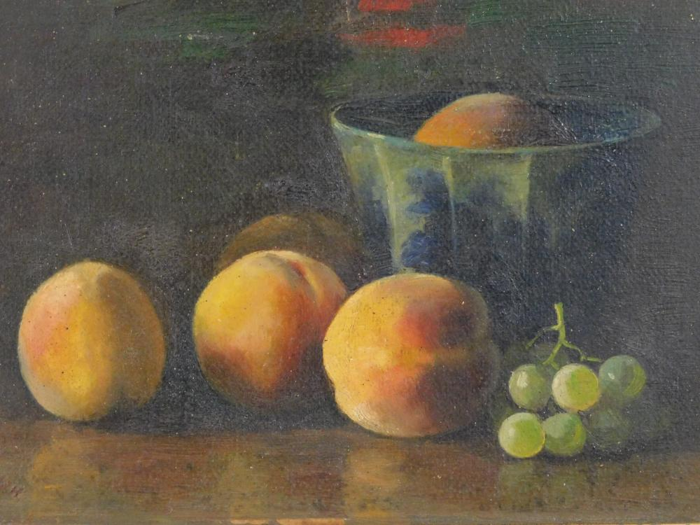 Monogrammed fruit still life, oil on board, five peaches and small bunch of green grapes sit on table, with one peach resting in blu...