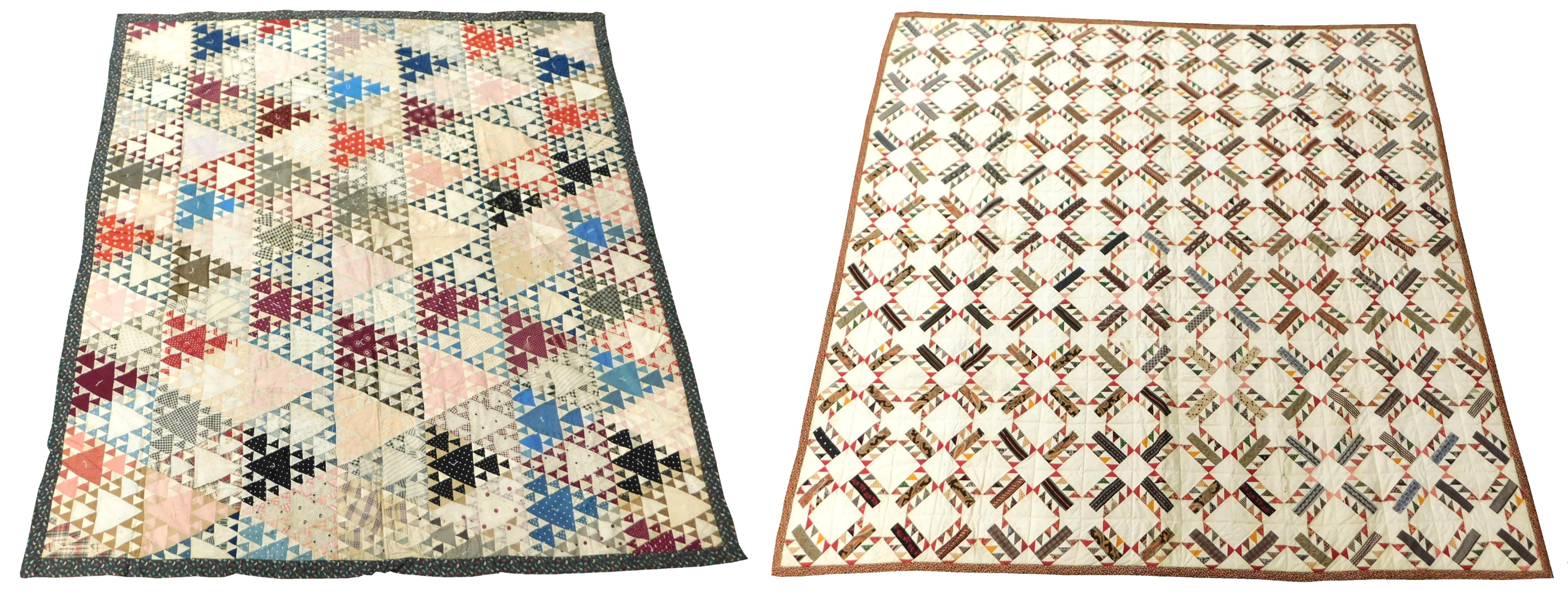 Two cotton piecework quilts: the first a needlework quilt, restored by Fran VanKeuren, with new back and border, deep warm-toned des...