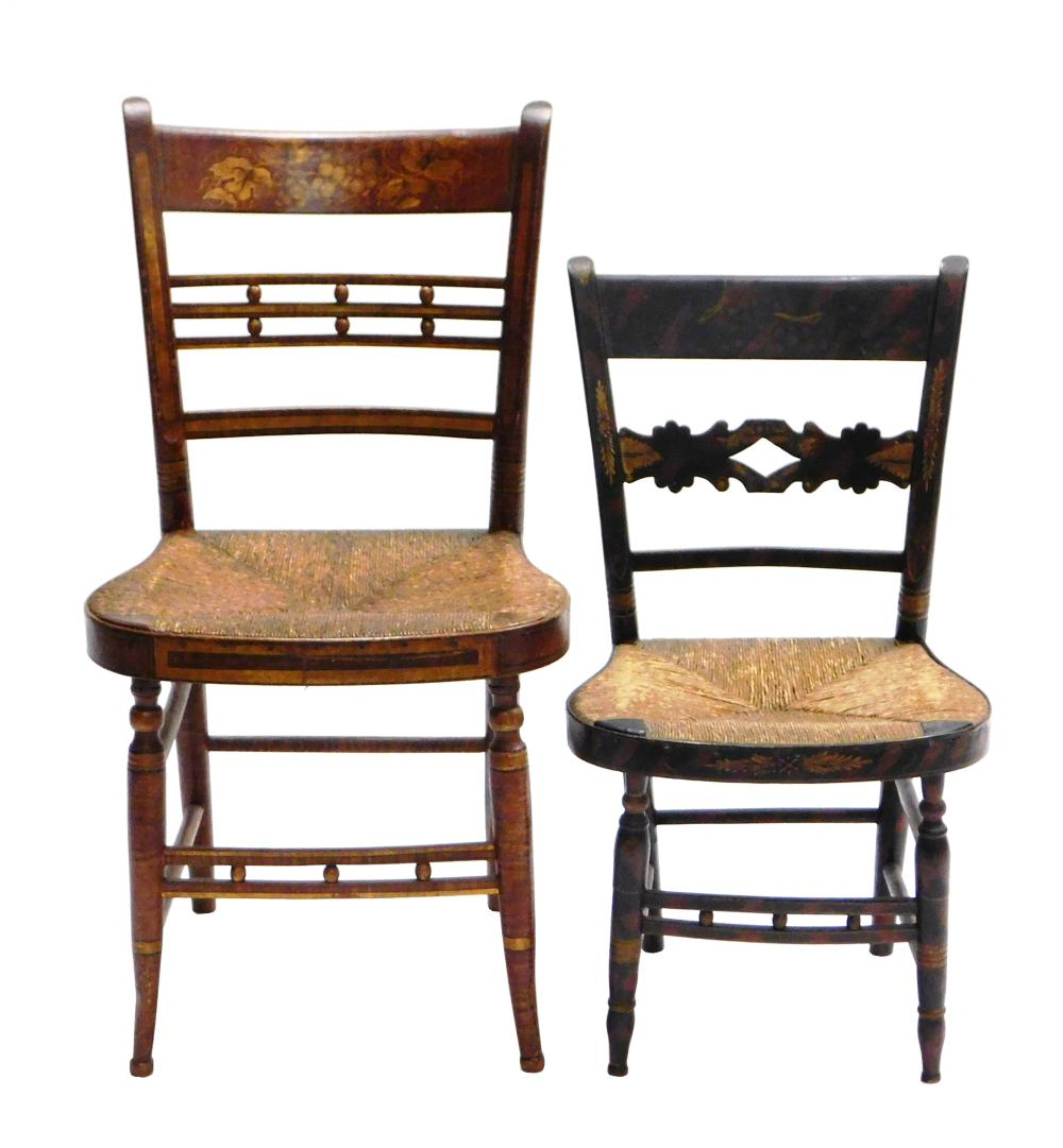 Two Sheraton fancy chairs, early 19th C., one child's size, both grain painted with grapevine stenciling and rush seats, with turned..