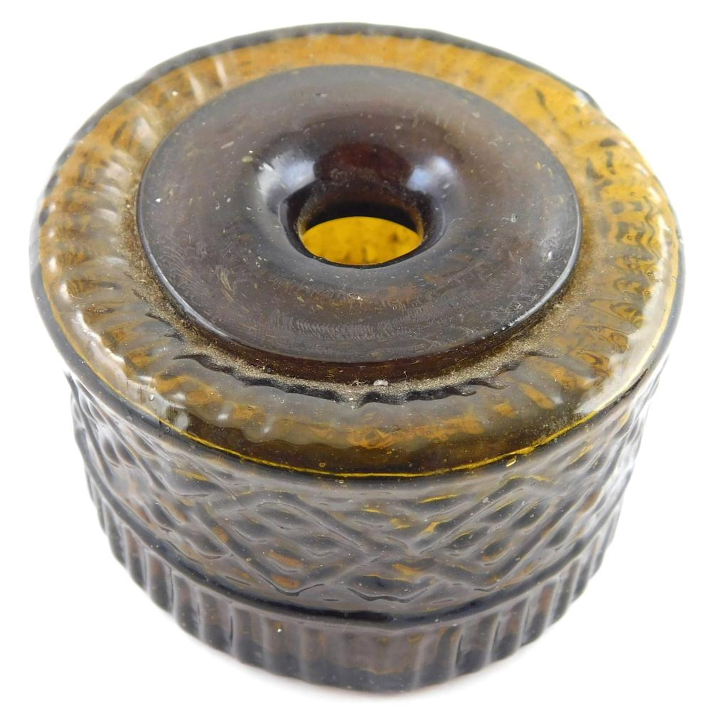 GLASS: Two Coventry geometric inkstands, blown three-piece mold, colors are from honey amber to dark green, possible G11-2 and G11-1...