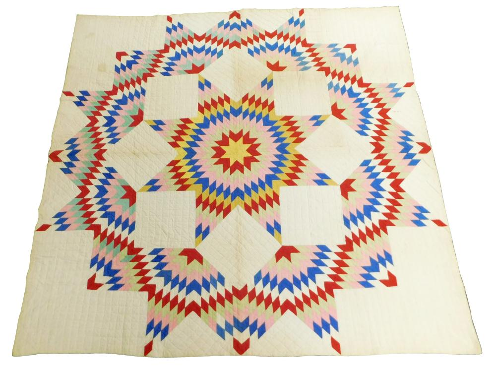 Needlework quilt, Star of Texas / Star of Bethlehem pattern on white background, all handmade, pink, red, yellow, blue, and light gr...