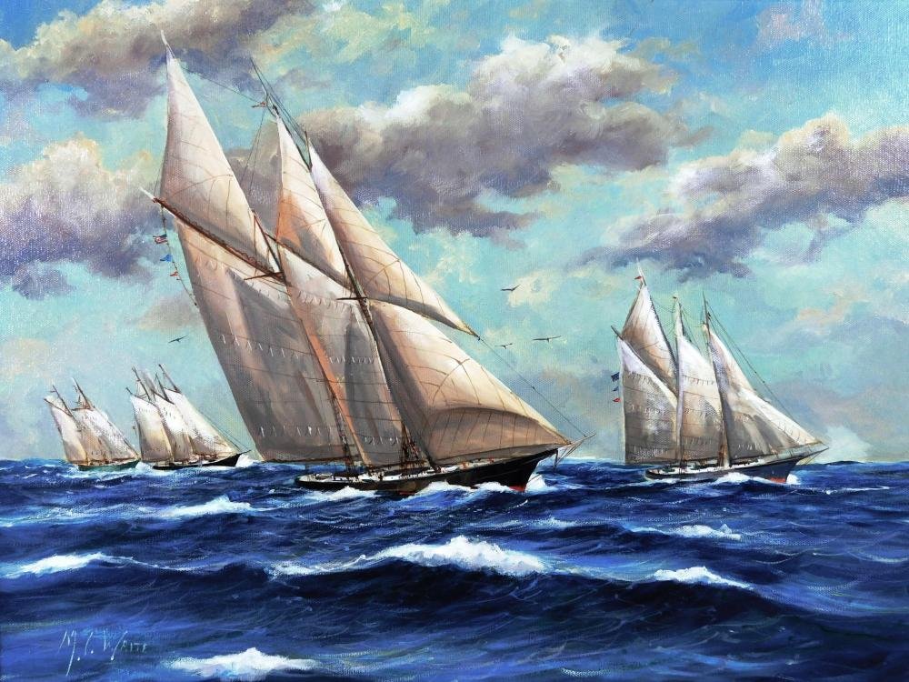 M.C. Waite (American, 20th C.), oil on canvas, depicts four schooner ships sailing over deep blue waters, birds joining them in sky,...