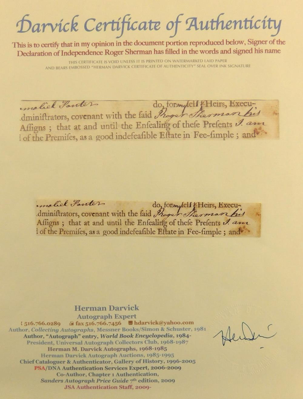 Calligraphy samples, four pieces total, including: snippet with signature of Roger Sherman (with certificate of authenticity); a let...