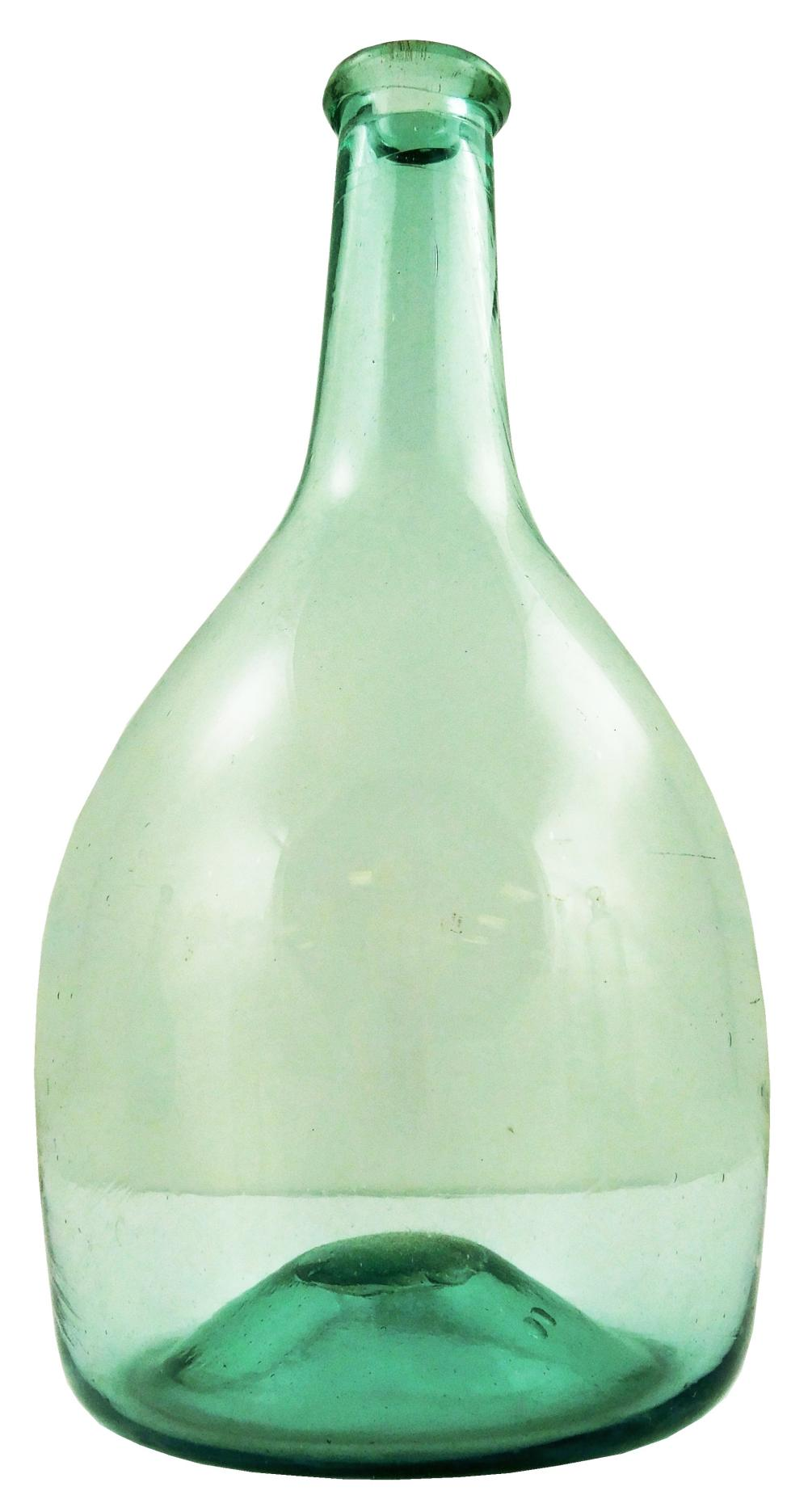 GLASS: Four pale green bottles, including: three pale green bottles, possibly Midwestern chestnut, open pontil with applied lip, and...