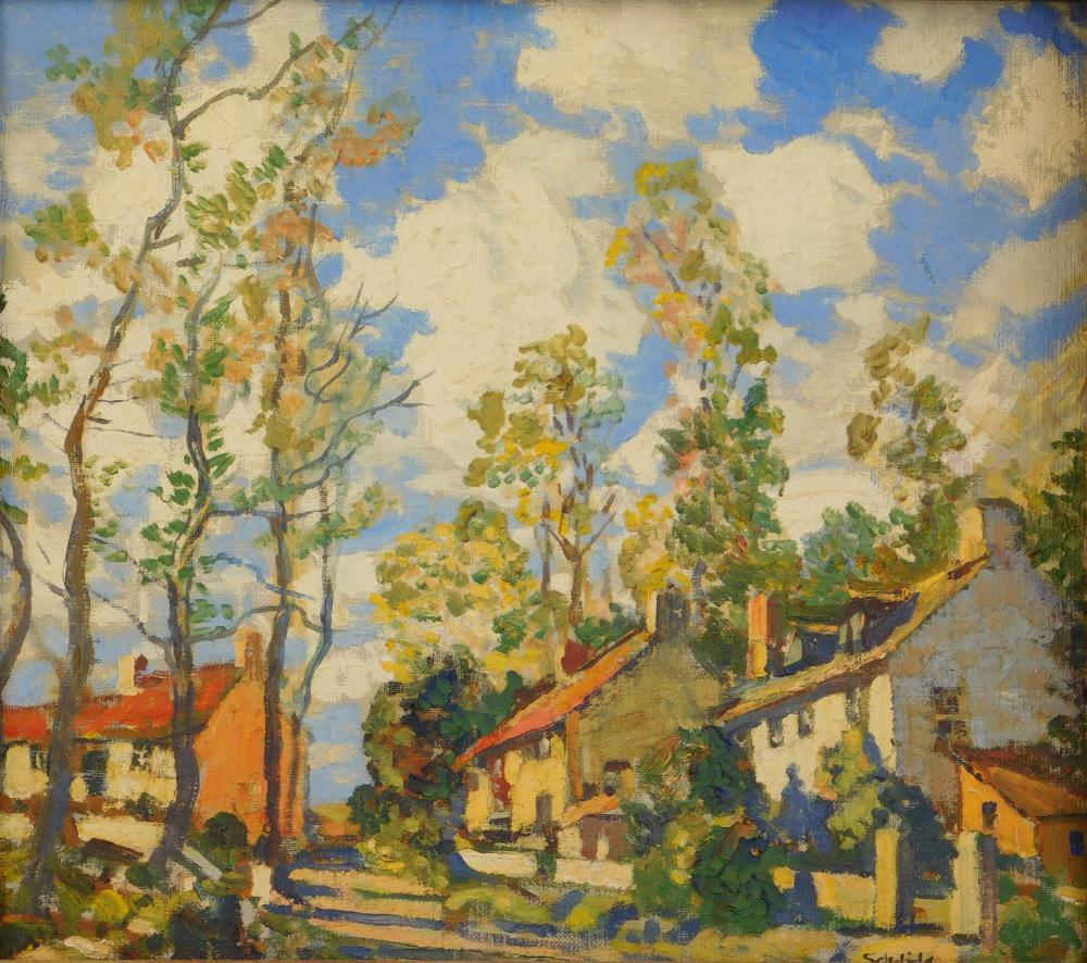 Walter Elmer Schofield (American, 1867-1944), oil on canvas board, landscape of pastoral scene, several houses line a street, many t...