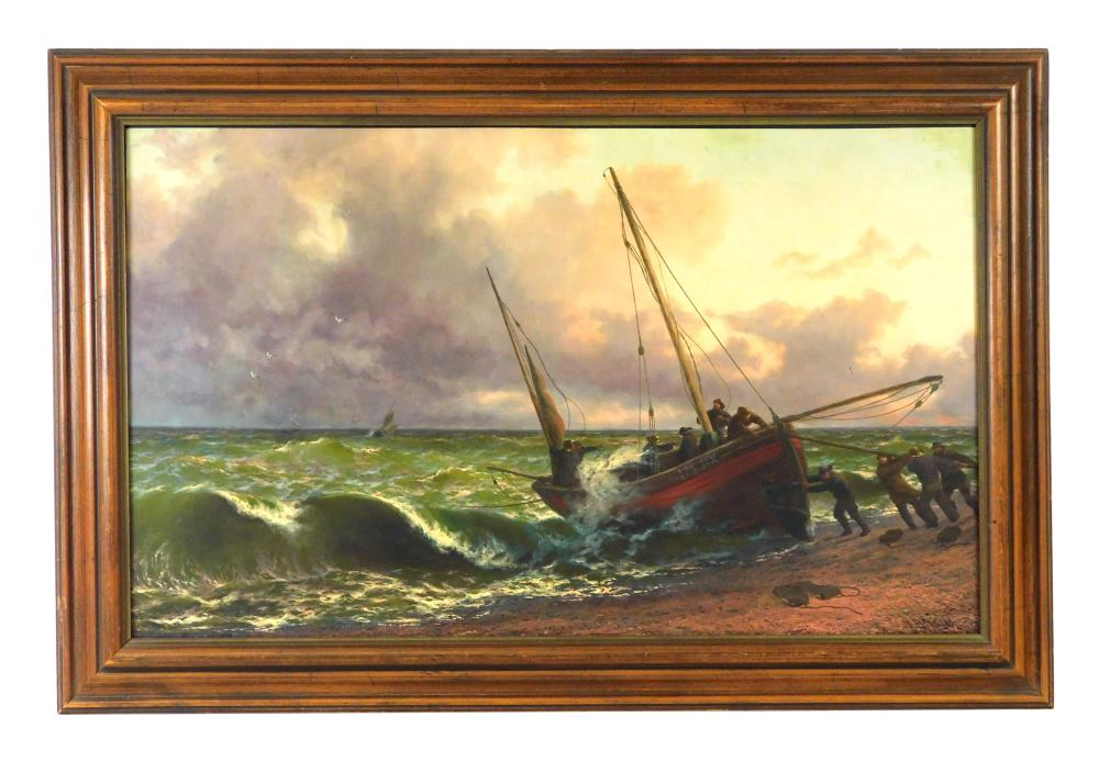 J. R. Miles (English, 19th/20th C.), oil on relined canvas, boat coming ashore filled with people, four men on shore assist with lan...