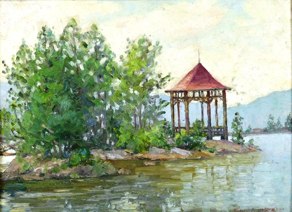 """Margret Munro-Stratton"", oil on canvas board, the ""Lookout"" at Rocky Point Inn, Fourth Lake, a pavilion with red-toned hipped roof..."