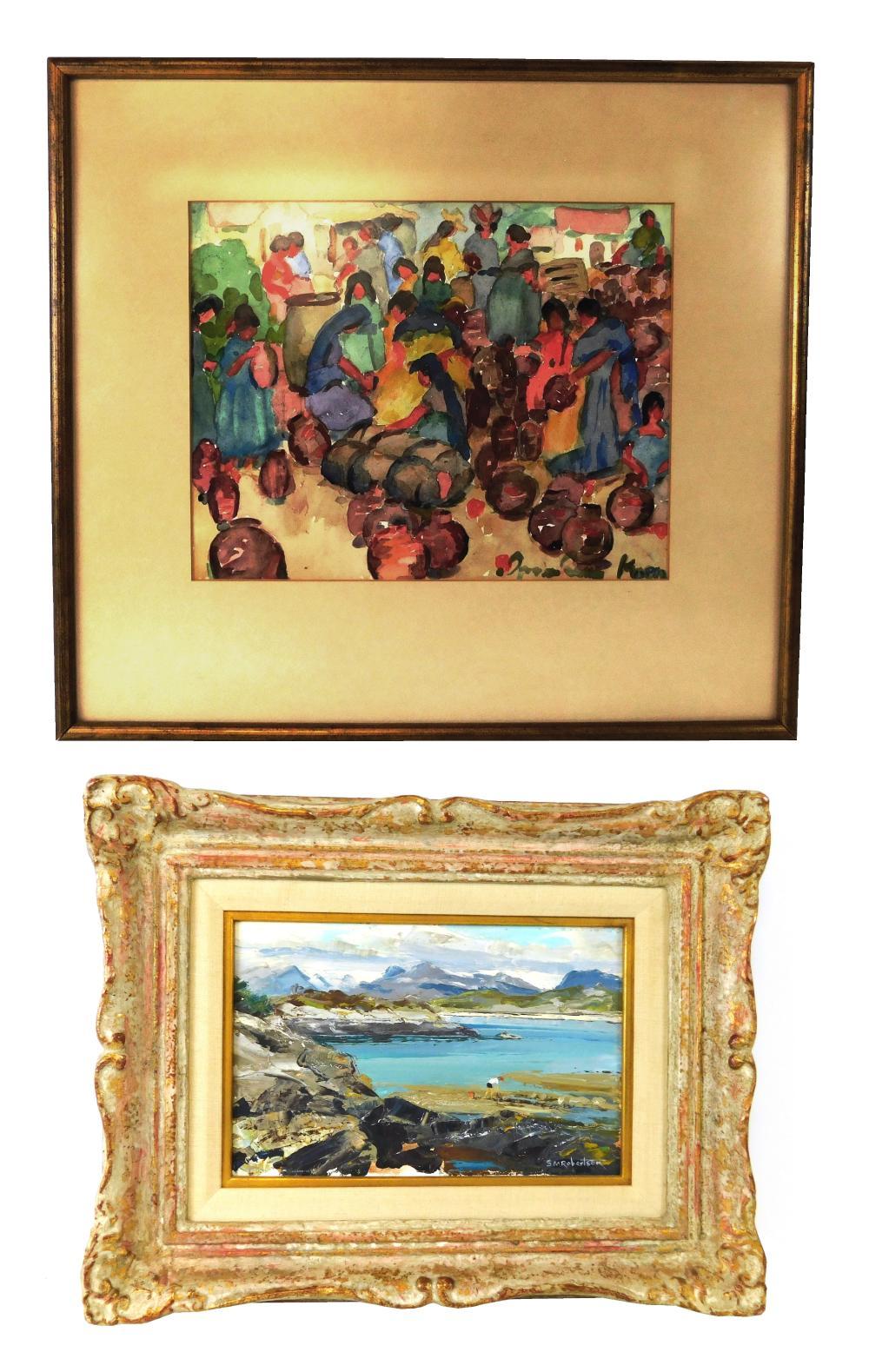 """Two framed artworks: Sheila MacLeod Robertson (British b. 1927), oil on artist board, """"Whelk Gathering, Webster-ross"""", depicts solit..."""