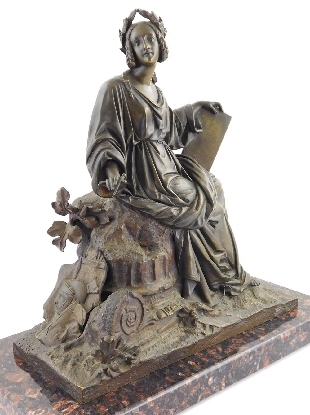Victorian bronze sculpture of seated woman scribe on detached black and red marble base, bronze in classical robes with laurel wreat...