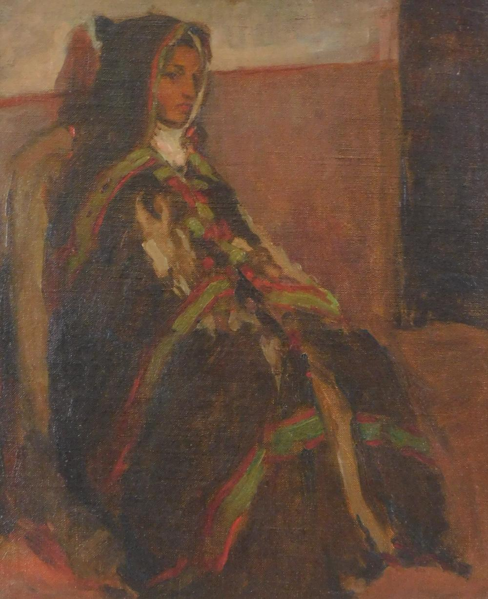 Lucien Abrams (American, Connecticut, 1870-1941), oil on canvas, woman sits against wall shrouded in dark poncho with green and red...