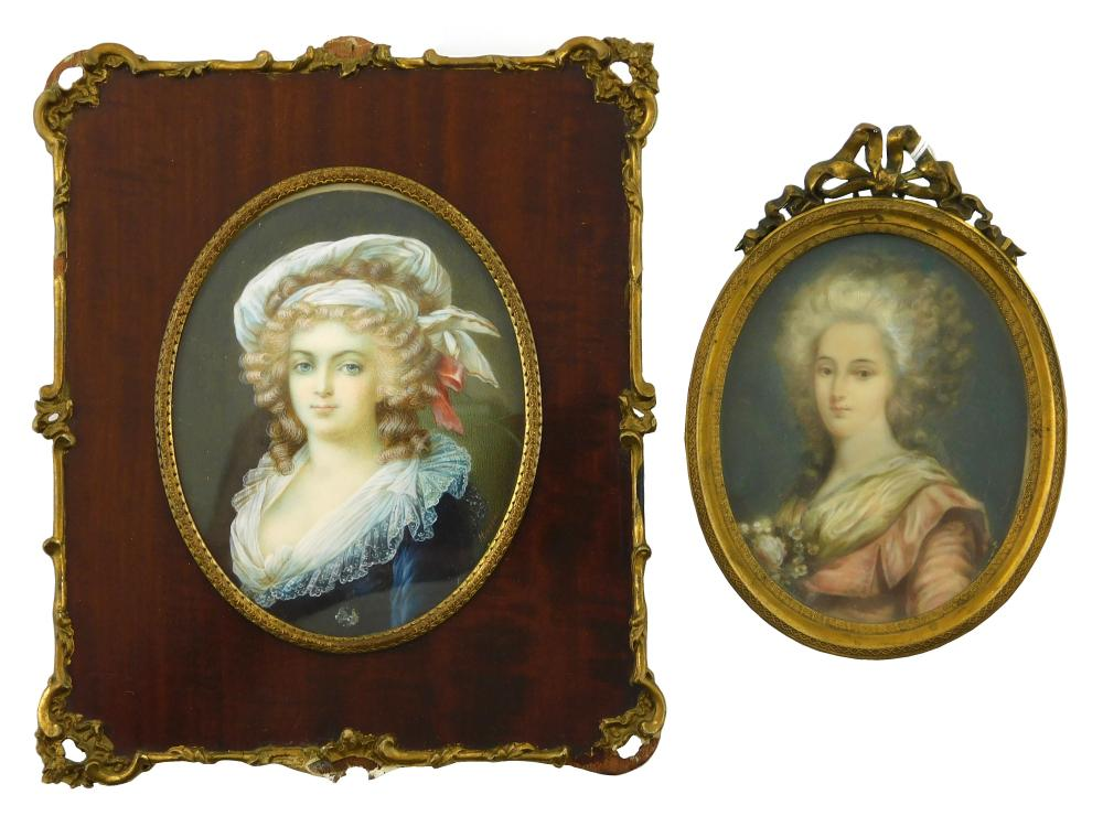 "MINIATURE: Two women both on oval supports, the first signed center right ""Moran"", with a white cap and sheer collar on her blue gow..."
