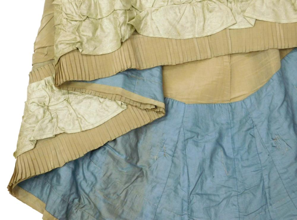 Two late 19th C. dresses, museum provenance, one beige and one tan, both princess cut, details include: beige taffeta dress, small t...