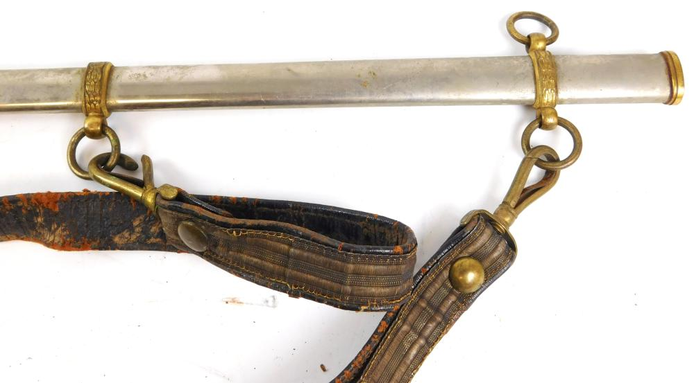 WEAPON: Sword scabbard, c. 1870, nickeled with leather sword-belt keepers, possible Civil War era brass eagle buckle, wear consisten...