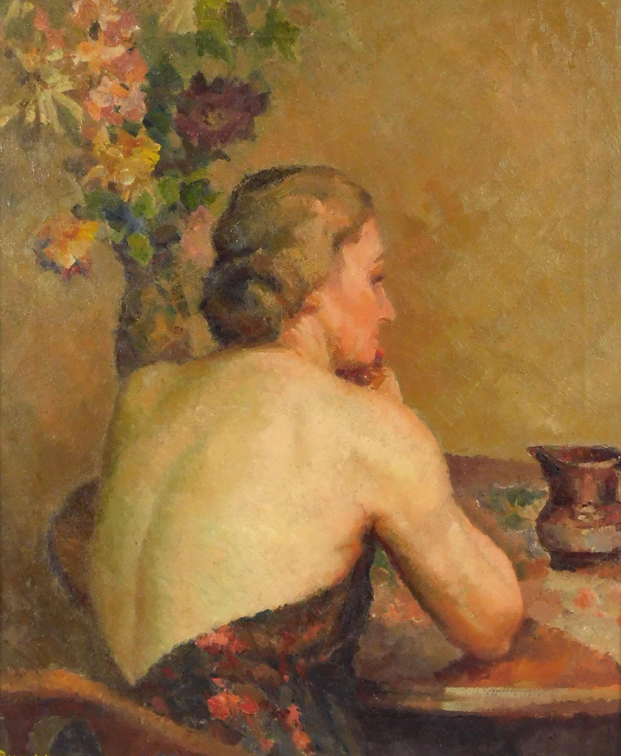 Rand Warren (American, 20th C.), oil on canvas, woman in low back top sits at table with large floral arrangement of pink, yellow, w...