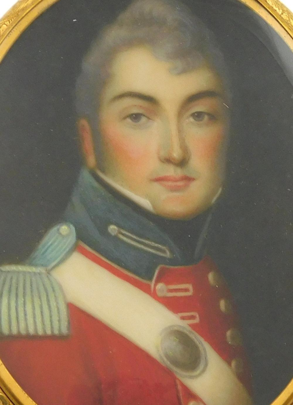 MINIATURE: Military man, depicting English Naval officer in Napoleonic war, oval support, red double-breasted jacket, blue stand up...