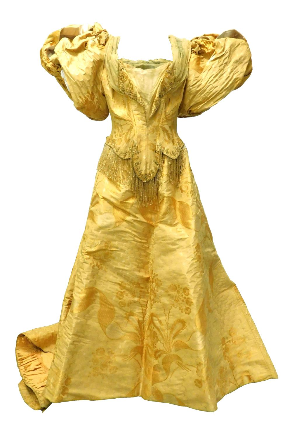 House of Worth yellow brocade with bead fringe evening dress, c. 1890's, museum provenance, two pieces, bodice and skirt, details in..