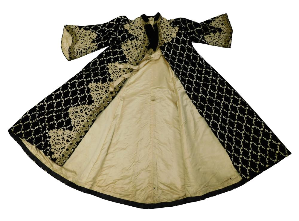 Ladies velvet and satin evening coat, 19th C., museum provenance, black cut velvet with white satin background, lined in satin with...