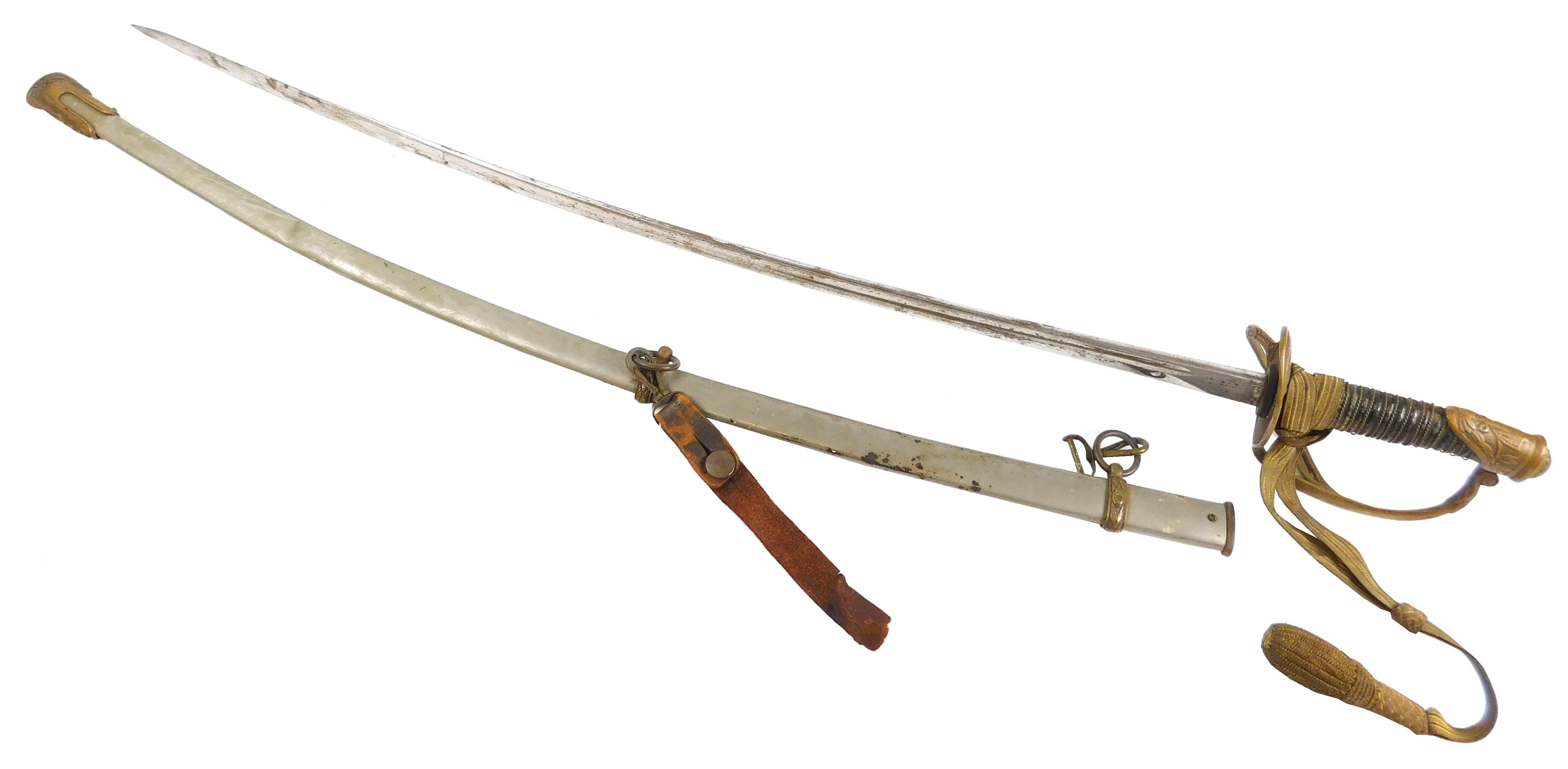 WEAPON: 1870 U.S. military officers sword, imported blade with sword knot, wear consistent with age and use, finish loss on grip, so...