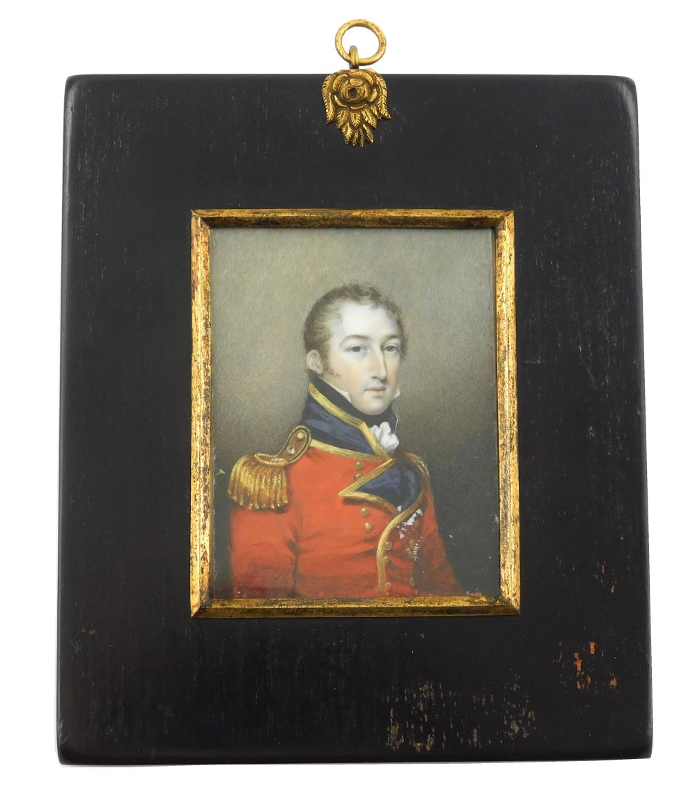MINIATURE: Military man, depicting English officer, possibly a Captain in Napoleonic War, rectangular support, red jacket with stand...