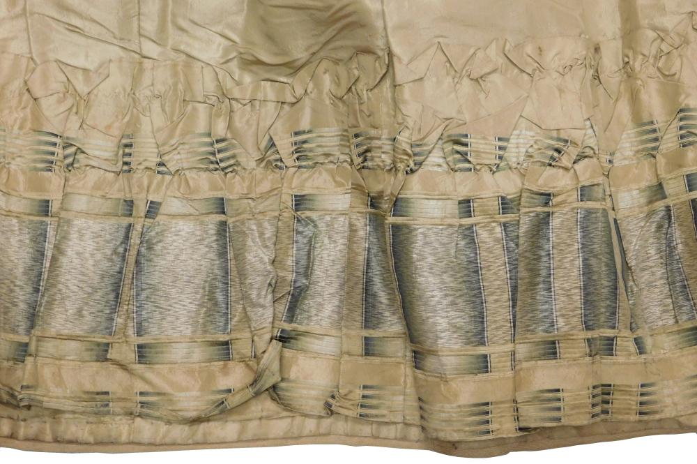 Greenish tan silk taffeta dress, 19th C., museum provenance, two pieces, bodice and skirt, details include: bodice with high neck, l...