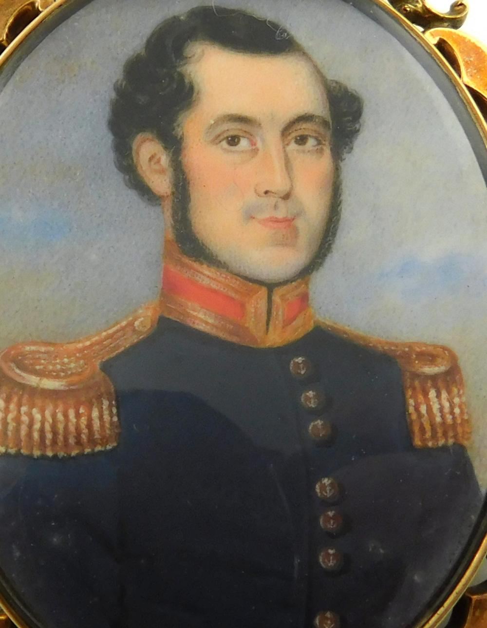 MINIATURES: Military man, most likely depicting a Marine Officer in English Napoleonic War, oval support, young man with dark hair a...